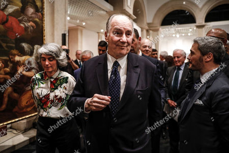 Prince Aga Khan IV (C) and Portuguese Culture Minister Graca Fonseca (L) during the donation ceremony of three Portuguese XVII century paintings to the Portuguese government that took place at National Museum of Ancient Art in Lisbon, Portugal, 29 March 2019.