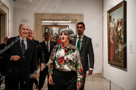 Prince Aga Khan IV (L) and Portuguese Culture Minister Graca Fonseca during the donation ceremony of three Portuguese XVII century paintings to the Portuguese government that took place at National Museum of Ancient Art in Lisbon, Portugal, 29 March 2019.