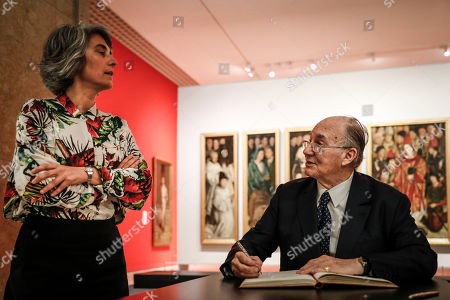 Prince Aga Khan IV (R) and Portuguese Culture Minister Graca Fonseca (L) during the donation ceremony of three Portuguese XVII century paintings to the Portuguese government that took place at National Museum of Ancient Art in Lisbon, Portugal, 29 March 2019.