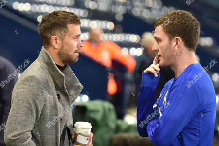 Former Aston Villa and England player , Now Sky TV pundit Lee Hendrie chats to his former Villa team mate Birmingham City midfielder Craig Gardner (8) during the EFL Sky Bet Championship match between West Bromwich Albion and Birmingham City at The Hawthorns, West Bromwich