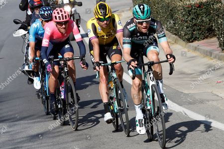 German rider Maximiliam Schachmann of Bora-Hansgrhoge team (R), Dutch Bert-Jan Lindeman(2-R), US Tejay Van Garderen (2-L) and Costa Rican Andrey Amador (L) in action during the fifth stage of the 99th Tour of Catalonia cycling race, over 189 km between Puigcerda and Sant Cugat del Valles, Spain, 29 March 2019.