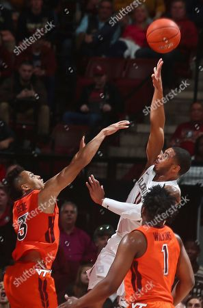 David Nichols, Wabissa Bede. Florida State guard David Nichols (11) makes a shot over the defense of Virginia Tech guard Wabissa Bede (3) in the second half of an NCAA college basketball game in Tallahassee, Fla., . Florida State won 73-64 in overtime