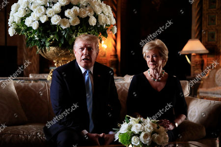 Donald Trump, Linda McMahon. President Donald Trump announces the resignation of Small Business Administration Administrator Linda McMahon during a news conference at his Mar-a-Lago estate in Palm Beach, Fla., . She is joining the campaign to help with Trump's re-election effort