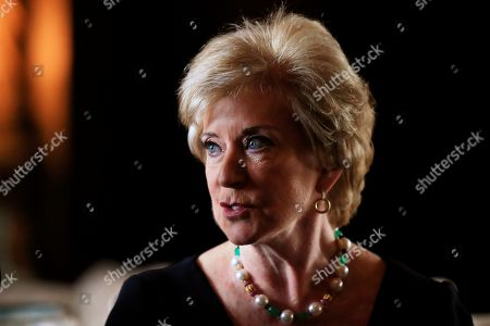 Stock Image of Linda McMahon, Donald Trump. Small Business Administration Administrator Linda McMahon speaks during a news conference with President Donald Trump in Trump's Mar-a-Lago estate in Palm Beach, Fla