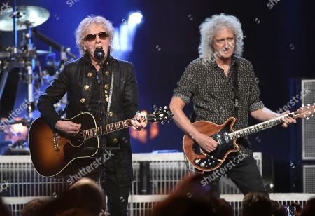 Ian Hunter, Brian May. Ian Hunter, left, and Brian May perform at the Rock & Roll Hall of Fame induction ceremony at the Barclays Center, in New York