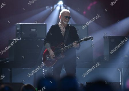 Inductee Reeves Gabrels of the Cure performs at the Rock & Roll Hall of Fame induction ceremony at the Barclays Center, in New York