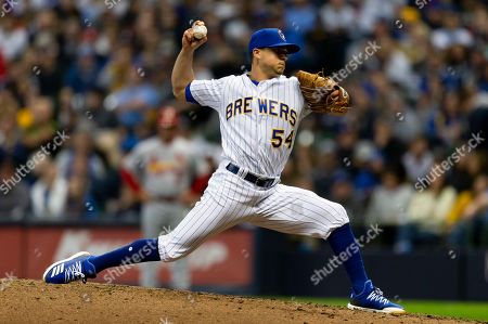 Stock Picture of Milwaukee Brewers relief pitcher Taylor Williams #54 delivers a pitch during the Major League Baseball game between the Milwaukee Brewers and the St. Louis Cardinals at Miller Park in Milwaukee, WI