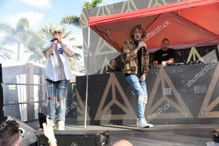 Kevi, from left, Trevor Dahl and Matthew Russel of Cheat Code perform at The Remix Top 30 Countdown