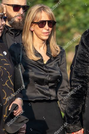 Natalie Appleton at the funeral of Keith Flint on March 29th. Crowds packed the road between Braintree in Essex and St Mary's Church in Bocking, where the service was held.