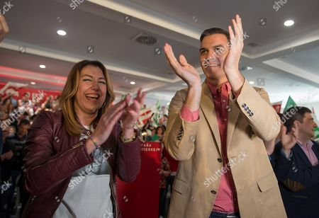Spanish Prime Minister Pedro Sanchez (R) and leader of the socialist party in Andalucia region Susana Diaz (L) attend a rally in Jaen, Spain, 30 March 2019. Sanchez called for early elections 15 February 2019 as the Government did not manage enough support to pass de 2019 budget at the Lower House. Spain will be holding general elections on 28 April 2019.