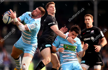 Stock Picture of Saracens vs Glasgow Warriors. Glasgow's Rory Hughes and Samuel Johnson with David Strettle and Liam Williams of Saracens