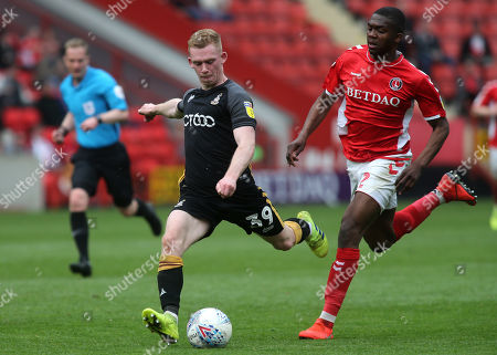 Lewis O'Brien of Bradford City, on loan from Huddersfield Town, gets ready to take a shot at the Charlton goal as Anfernee Dijksteel looks on during Charlton Athletic vs Bradford City, Sky Bet EFL League 1 Football at The Valley on 30th March 2019