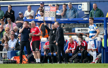Sub Sky Bet Board with Fourth Official - Steve McClaren - Manager of QPR  & Matt Smith of QPR  (R)