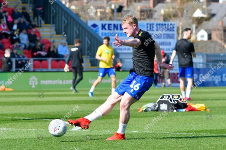 Willem Tomlinson (16) of Mansfield Town warming up before the EFL Sky Bet League 2 match between Exeter City and Mansfield Town at St James' Park, Exeter