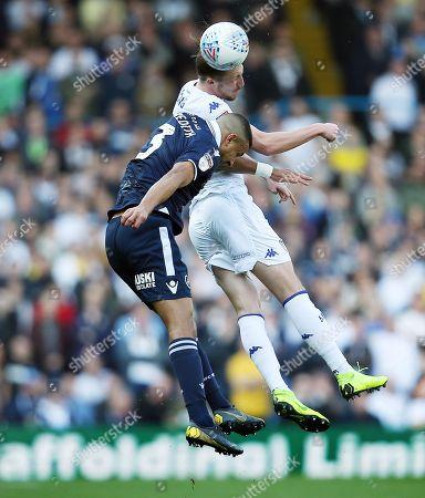 Luke Ayling of Leeds United and James Meredith of Millwall