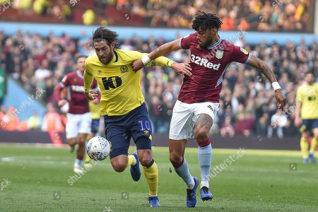 Aston Villa defender (on loan from AFC Bournemouth) Tyrone Mings (40) battles for possession  with Blackburn Rovers striker Danny Graham (10) during the EFL Sky Bet Championship match between Aston Villa and Blackburn Rovers at Villa Park, Birmingham