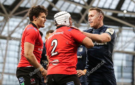 Leinster vs Ulster. Leinster's Rory O'Loughlin and Ulster's Rory Best scuffle after Ross Byrne's try