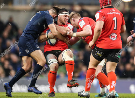 Leinster vs Ulster. Ulster's Marcell Coetzee tackled by Leinster's Ross Byrne
