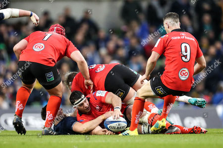 Leinster vs Ulster. Ulster's Marcell Coetzee with Ross Byrne of Leinster