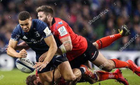 Leinster vs Ulster. Leinster's Adam Byrne tackled by Ulster's Stuart McCloskey