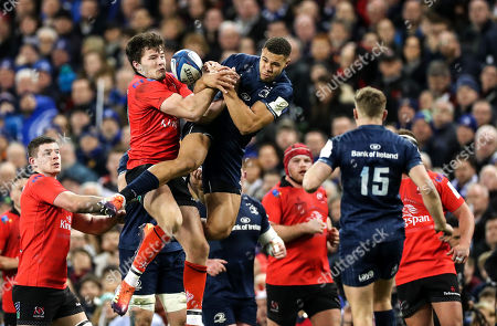 Leinster vs Ulster. Leinster's Adam Byrne with Ulster's Jacob Stockdale
