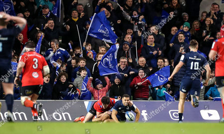Leinster vs Ulster. Leinster's Adam Byrne scores a try despite Ulster's Jacob Stockdale