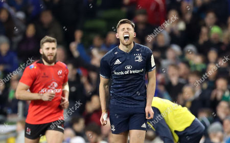 Leinster vs Ulster. Leinster's Ross Byrne reacts after kicking a penalty to take the lead