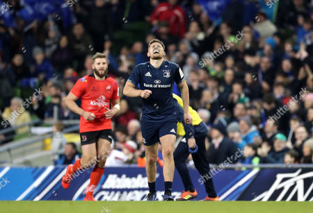 Stock Image of Leinster vs Ulster. Leinster's Ross Byrne reacts after kicking a penalty to take the lead