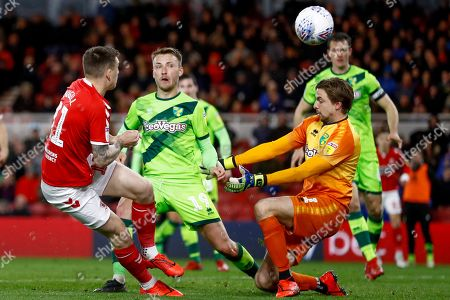 Middlesbrough forward Jordan Hugill (11) on loan from West Ham United, shot is blocked by Norwich City goalkeeper Tim Krul (1)  during the EFL Sky Bet Championship match between Middlesbrough and Norwich City at the Riverside Stadium, Middlesbrough