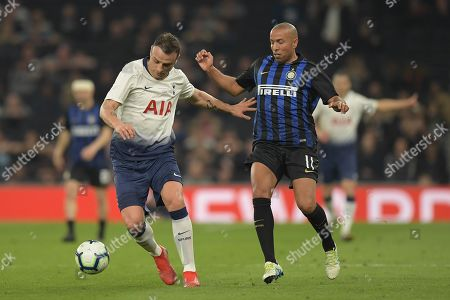 Stock Picture of Dimitar Berbatov of Spurs Legends and Houssine Kharja of Inter Forever
