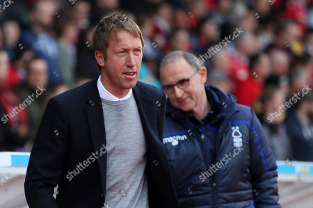 Swansea City Manager Graham Potter and Nottingham Forest Manager Martin O'Neill.