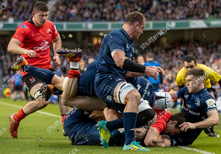 Leinster vs Ulster. Leinster's Rhys Ruddock, Ross Byrne, Sean O'Brien and Luke McGrath with Jacob Stockdale of Ulster
