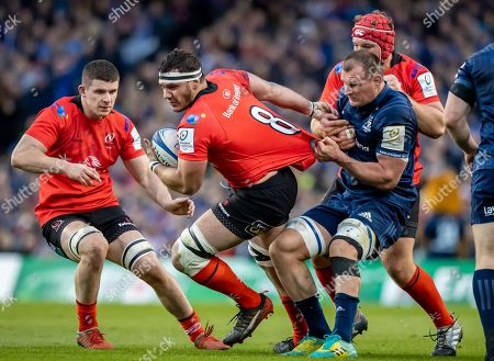 Stock Image of Leinster vs Ulster. Leinster's Rhys Ruddock with Marcell Coetzee, Nick Timoney and Eric O'Sullivan of Ulster