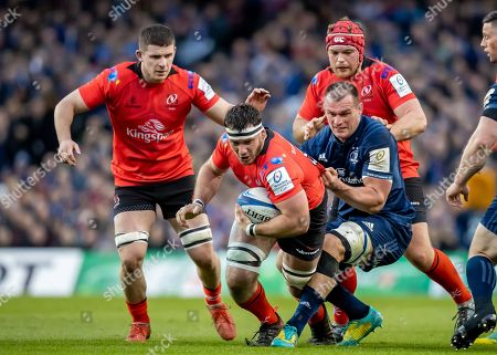 Leinster vs Ulster. Leinster's Rhys Ruddock with Marcell Coetzee, Nick Timoney and Eric O'Sullivan of Ulster