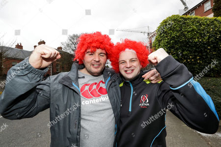 Leinster vs Ulster. Ulster fans Andy Black and David Gault from Ballymena