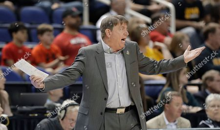 North Carolina State head coach Wes Moore reacts to a call during the first half of a regional women's college basketball game against Iowa in the NCAA Tournament in Greensboro, N.C
