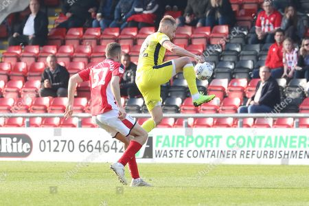Stock Image of Aaron Taylor-Sinclair and Luke Varney  during the EFL Sky Bet League 2 match between Crewe Alexandra and Cheltenham Town at Alexandra Stadium, Crewe