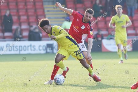 Stock Picture of Jacob Maddox and Aaron Taylor-Sinclair  during the EFL Sky Bet League 2 match between Crewe Alexandra and Cheltenham Town at Alexandra Stadium, Crewe