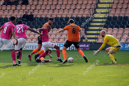 Stock Picture of O's Jay Simpson tries to shoot during Barnet vs Leyton Orient, Vanarama National League Football at the Hive Stadium on 30th March 2019