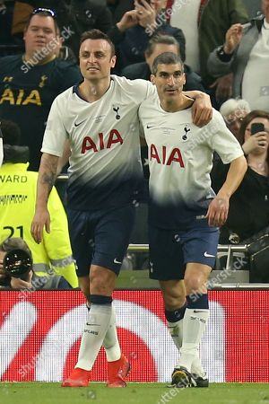 Paul Stalteri of Spurs Legends congratulates Dimitar Berbatov after scoring the fourth goal during Spurs Legends vs Inter Forever, Test Event Match Two Football at Tottenham Hotspur Stadium on 30th March 2019