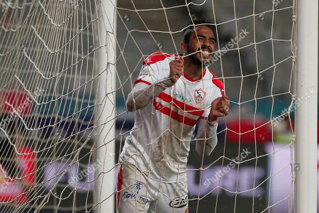 Al-Zamalek player Mahmoud Kahraba reacts during the Egyptian Premier League soccer match between Al-Ahly and Al-Zamalek at Borg Al Arab stadium, Cairo, Egypt, 30 March 2018.