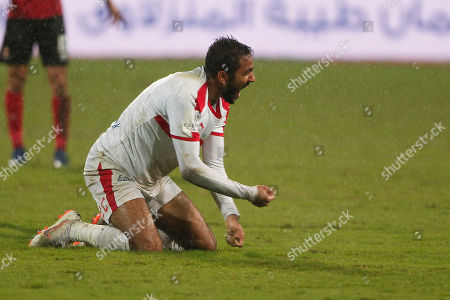 Al-Zamalek player Mahmoud Kahraba reacts during the Egyptian Premier League soccer match between Al-Ahly and Al-Zamalek at Borg Al Arab stadium, Egypt, 30 March 2019.