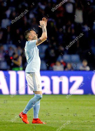 Celta's forward Iago Aspas reacts during the Spanish LaLiga match between Real Celta and Villarreal CF at Balaidos stadium in Vigo, Galicia, Spain, 30 March 2019.