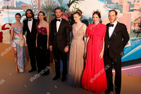 Stock Image of Princess Alexandra of Hanover, Dimitri Rassam, Charlotte Casiraghi, Pierre Casiraghi, Beatrice Boromeo, Tatiana Santo Domingo and Andrea Casiraghi arrive for the 'Bal de la Rose' (Rose Ball), in Monaco, 30 March 2019. The Rose Ball is a traditional annual charity event in the Principality of Monaco. This year the theme is 'Riviera', designed by late German Karl Lagerfeld and Princess Caroline of Hanover.