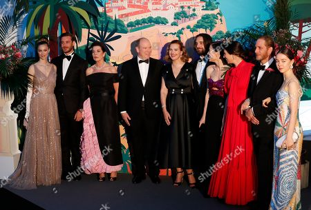 Countess Beatrice Boromeo, Pierre Casiraghi, Princess Caroline of Hanover, Prince Albert II of Monaco, French actress Carole Bouquet, Dimitri Rassam, Charlotte Casiraghi, Tatiana Santo Domingo, Andrea Casiraghi and Princess Alexandra of Hanover arrive for the 'Bal de la Rose' (Rose Ball), in Monaco, 30 March 2019. The Rose Ball is a traditional annual charity event in the Principality of Monaco. This year the theme is 'Riviera', designed by late German Karl Lagerfeld and Princess Caroline of Hanover.