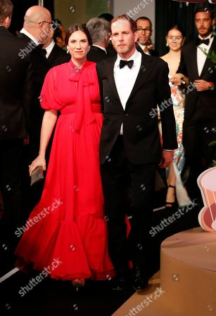 Andrea Casiraghi (R) and Tatiana Santo Domingo (L) arrive for the 'Bal de la Rose' (Rose Ball), in Monaco, 30 March 2019. The Rose Ball is a traditional annual charity event in the Principality of Monaco. This year the theme is 'Riviera', designed by late German Karl Lagerfeld and Princess Caroline of Hanover.