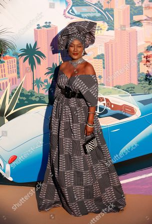 Khadja Nin arrives for the 'Bal de la Rose' (Rose Ball), in Monaco, 30 March 2019. The Rose Ball is a traditional annual charity event in the Principality of Monaco. This year the theme is 'Riviera', designed by late German Karl Lagerfeld and Princess Caroline of Hanover.
