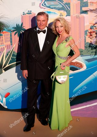Camilla de Bourbon-Deux-Siciles (R) and Prince Carlo of Bourbon-Two Sicilies, Duke of Castro (L) arrive for the 'Bal de la Rose' (Rose Ball), in Monaco, 30 March 2019. The Rose Ball is a traditional annual charity event in the Principality of Monaco. This year the theme is 'Riviera', designed by late German Karl Lagerfeld and Princess Caroline of Hanover.