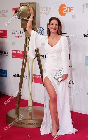 TV moderator Mareile Hoeppner arrives for the 54th annual 'Goldene Kamera' (Golden Camera) film and television award ceremony in Berlin, Germany, 30 March 2019.