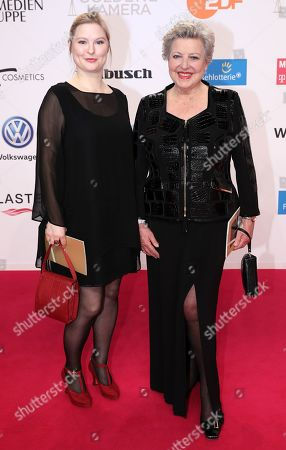 Marie Luise Marjan (R) and guest arrive for the 54th annual 'Goldene Kamera' (Golden Camera) film and television award ceremony in Berlin, Germany, 30 March 2019.